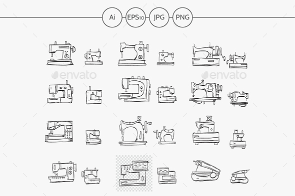 Sketch icons vector collection for sewing machine - Objects Icons