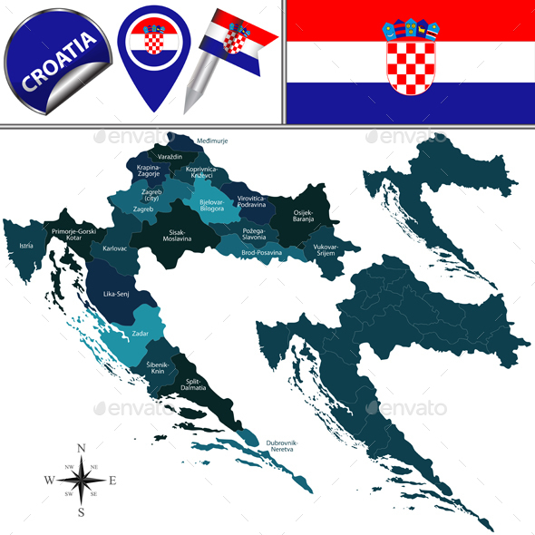 Map of Croatia - Travel Conceptual