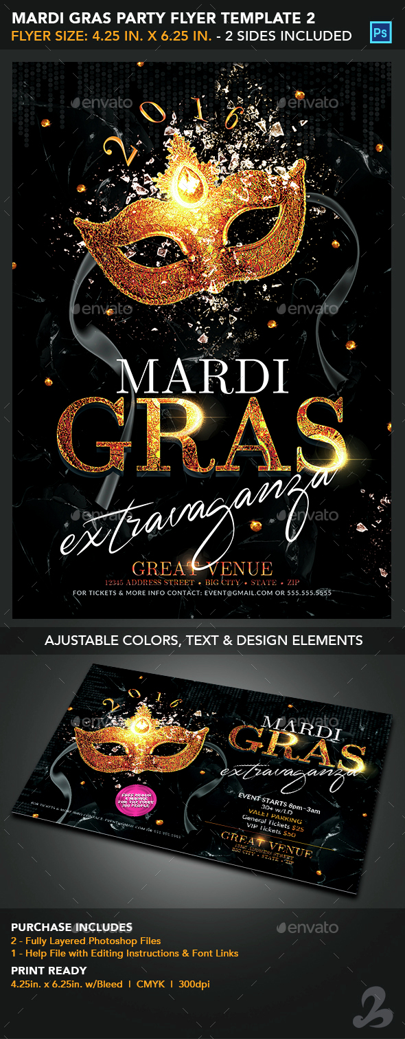 Mardi Gras Party Flyer Template 2 - Events Flyers