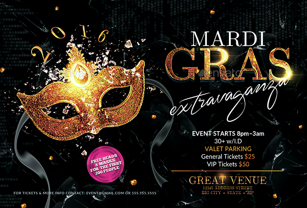 Mardi Gras Party Flyer Template 2 by CreativB – Mardi Gras Party Invitations Templates