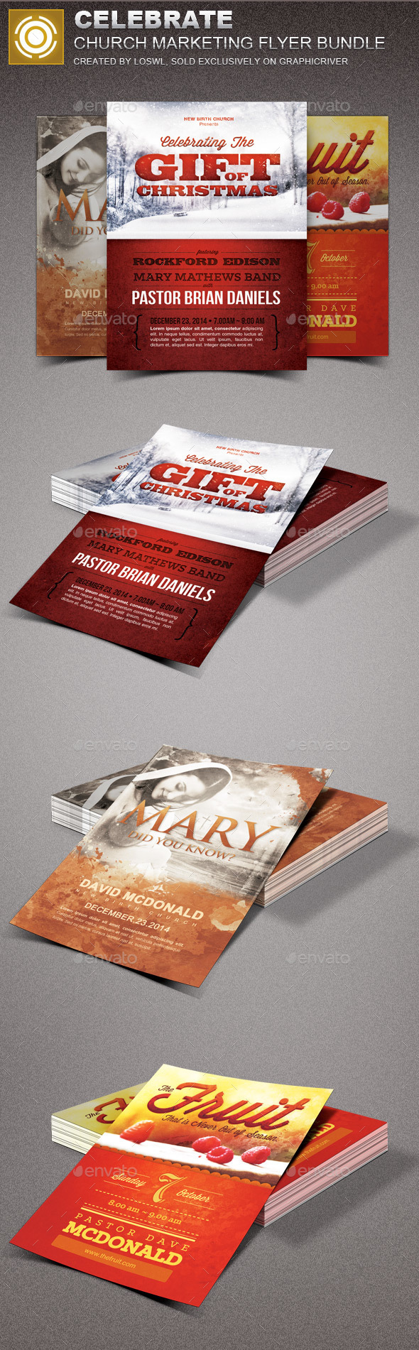 Celebrate Church Marketing Flyer Template Bundle - Church Flyers