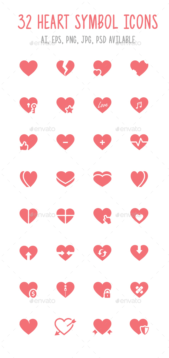32 Heart Symbol Icons - Icons