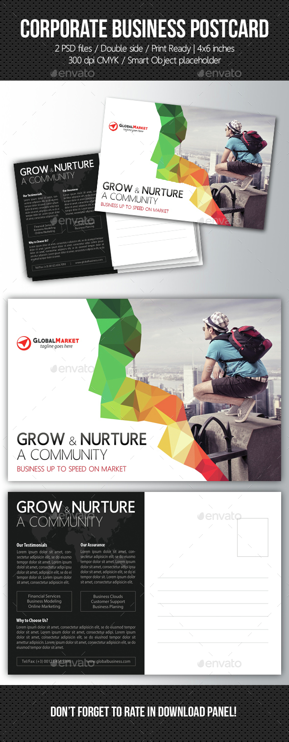 Corporate Business Postcard Template V10 - Cards & Invites Print Templates