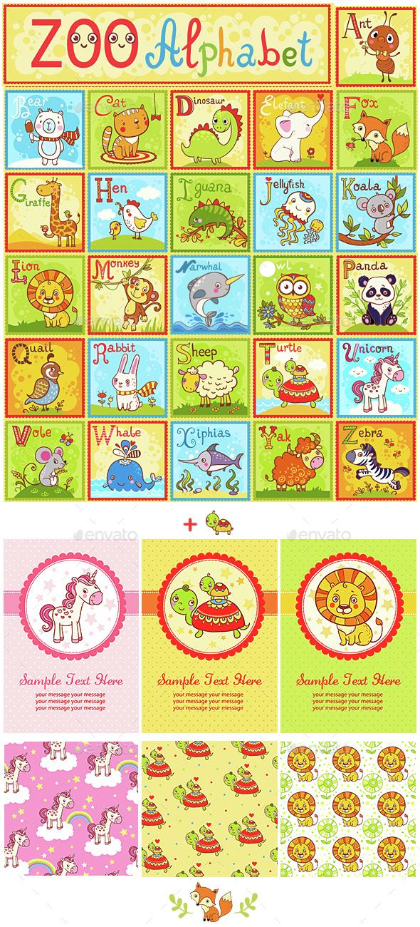 """Zoo Alphabet. Alphabet """"Animals"""" - Animals Characters"""