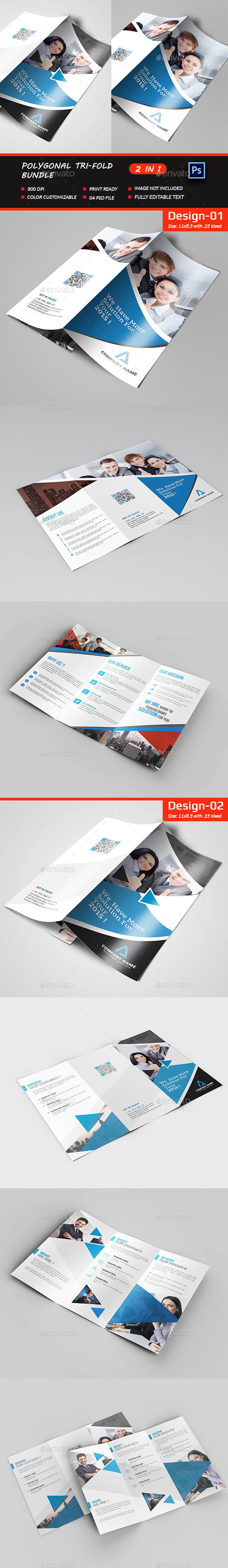 Polygonal Tri-fold Bundle  - Brochures Print Templates