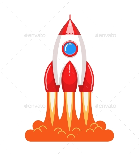 Cartoon Style Launching Rocket with Flame - Travel Conceptual