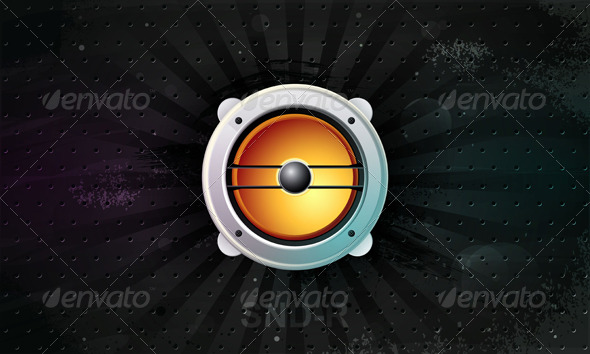Vector musical speaker icon on a dark background - Objects Vectors