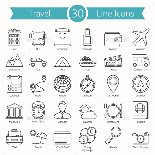 30 Travel Line Icons - Miscellaneous Icons