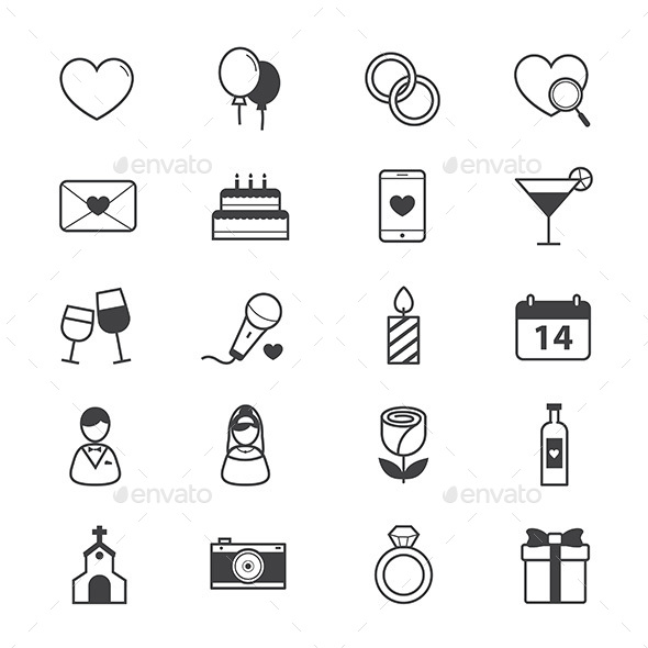Valentine and Love Wedding Icons Line - Icons