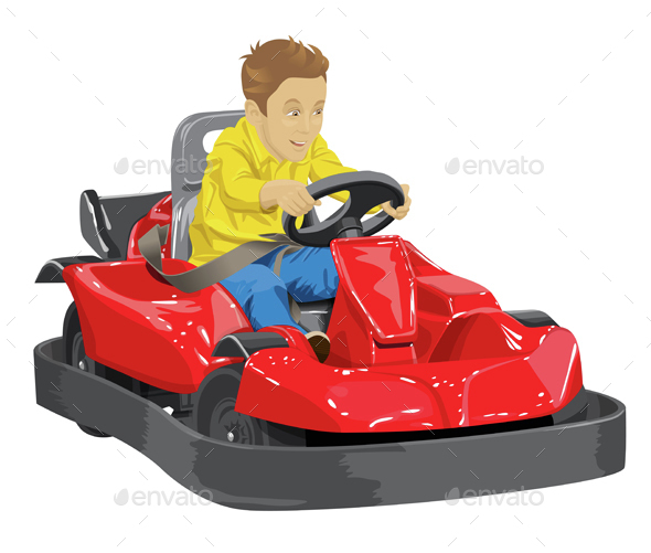 Boy Driving Go Kart - People Characters