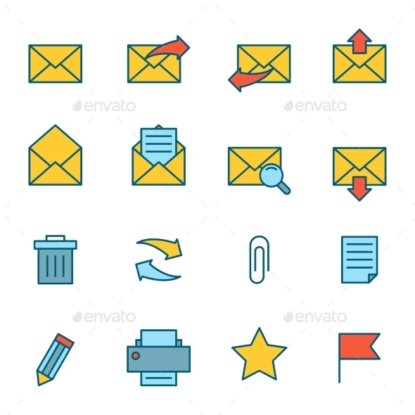 Email Icons Flat - Business Icons