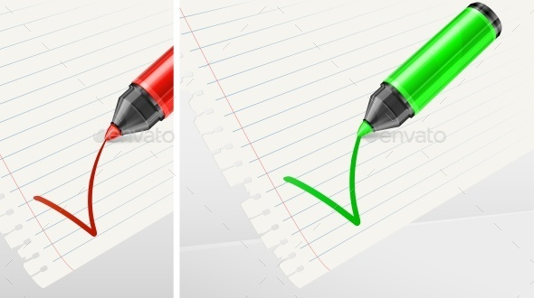 Green and Red Markers with Check Mark   - Miscellaneous Vectors