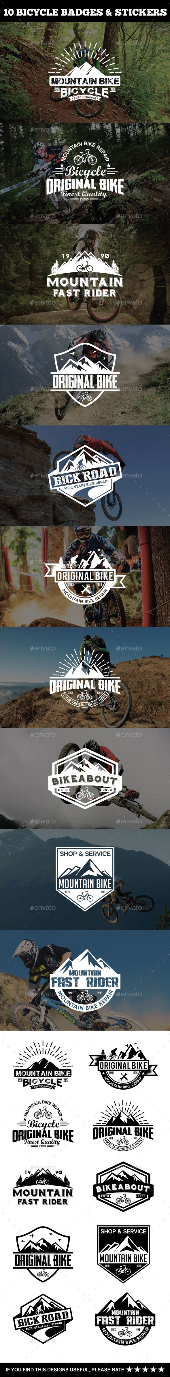 Sport Bicycle Badges & Stickers - Badges & Stickers Web Elements