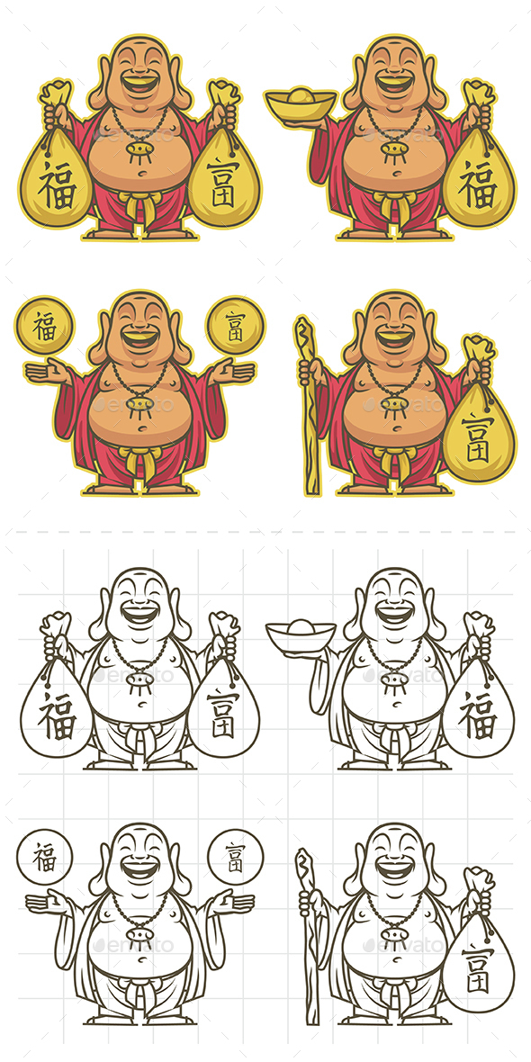 Buddha Gives Wealth and Happiness - People Characters