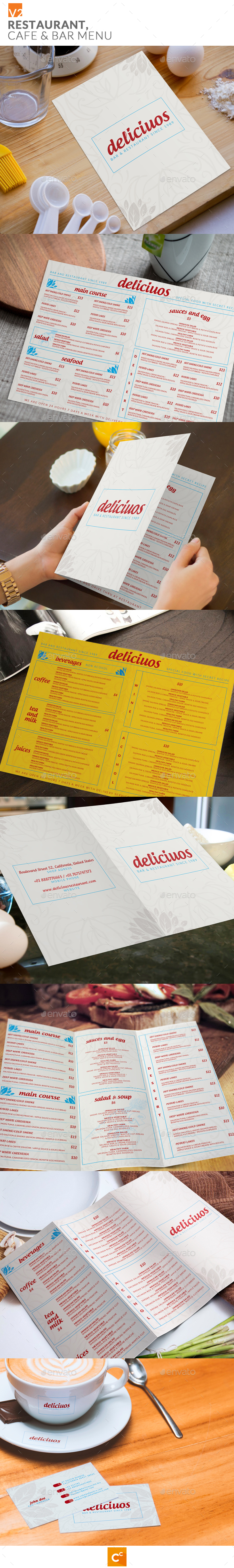 Restaurant Cafe & Bar Menu v2 - Food Menus Print Templates