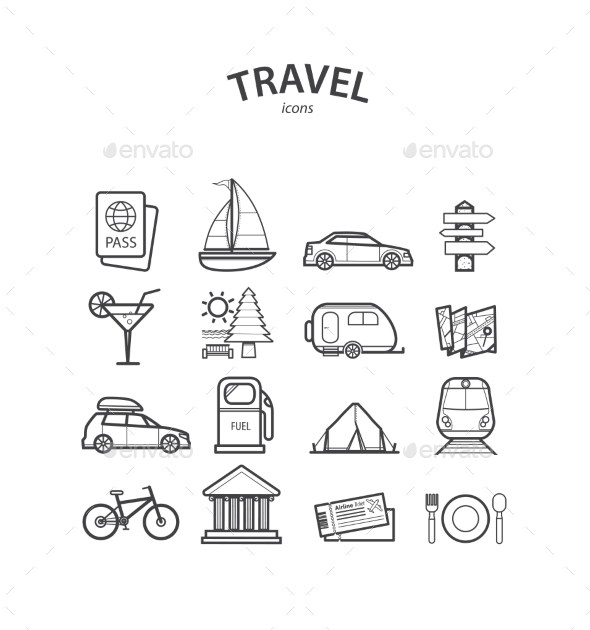 Travel and Tourism Icons Set - Travel Conceptual