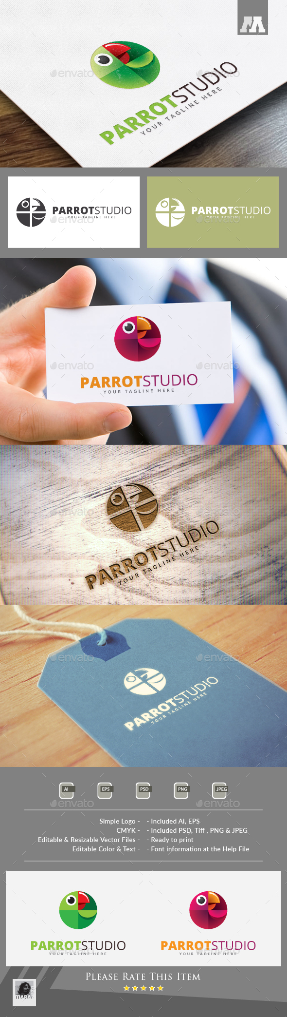 Parrot Studio Logo - Animals Logo Templates