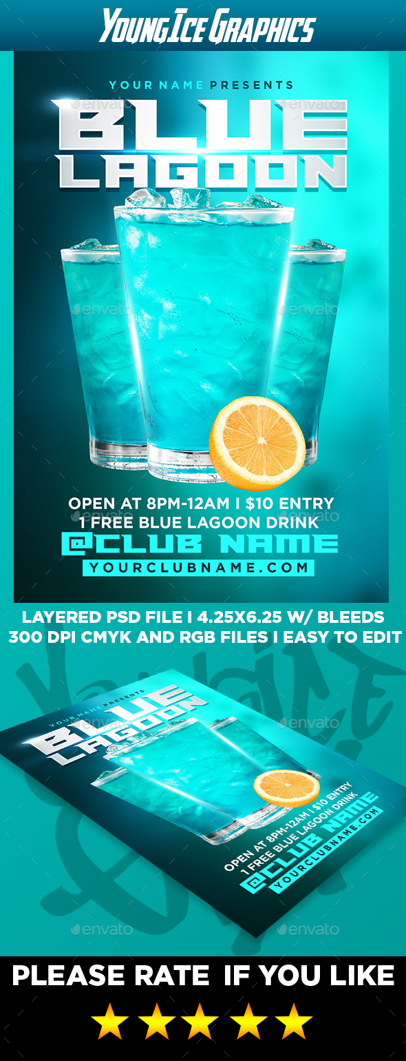 Blue Lagoon Flyer Template - Clubs & Parties Events