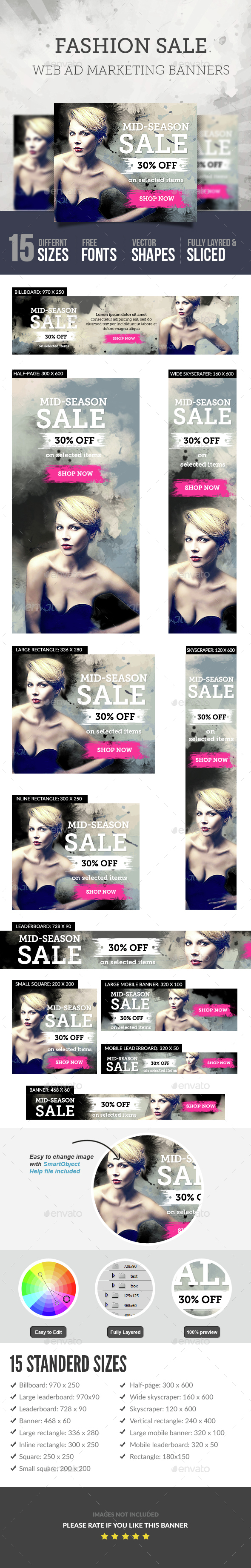 Fashion Sale Ad Banners - Banners & Ads Web Elements