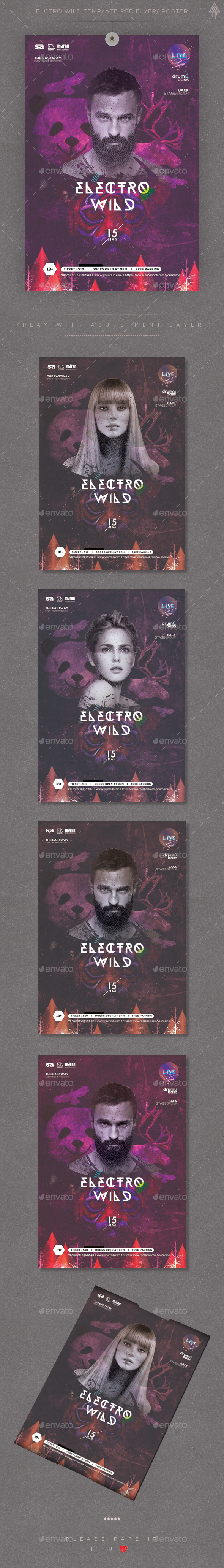 Electro Wild Template PSD Flyer/ Poster - Events Flyers