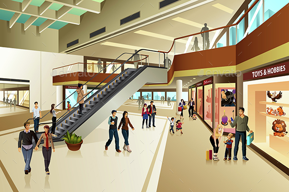 Scene Inside Shopping Mall - Commercial / Shopping Conceptual