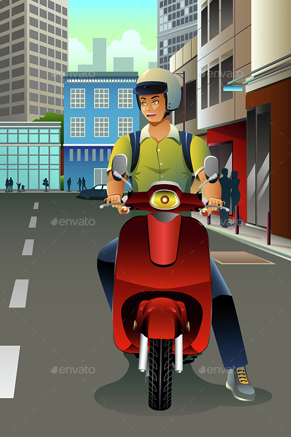 Man Riding a Scooter - People Characters