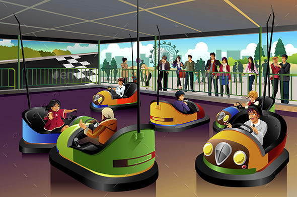 Kids Playing  Car in a Theme Park - People Characters
