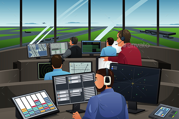 Air Traffic Controller Working in the Airport - People Characters