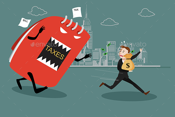 Businessman Running Away from Tax - Concepts Business