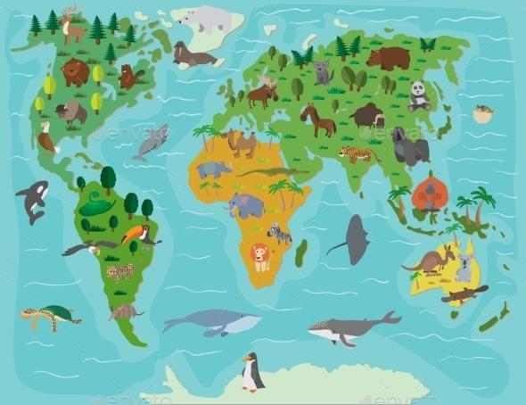 Animal World. Funny Cartoon Map - Miscellaneous Vectors