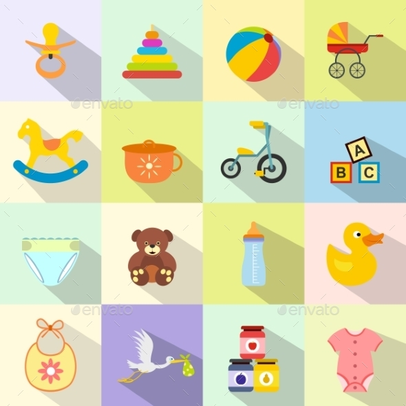 Baby Flat Icon Set - Miscellaneous Icons