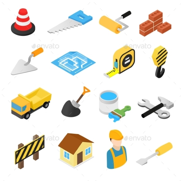 Construction Isometric Icons Set - Miscellaneous Icons