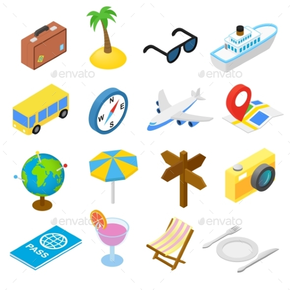 Travel Isometric Icons Set - Miscellaneous Icons