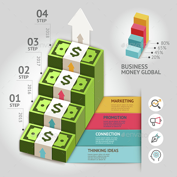 Business Money Global Arrow Staircase Infographics Template. - Infographics