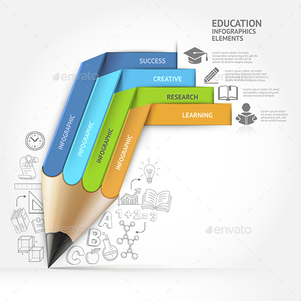 Education Pencil Staircase Infographics Template. - Infographics