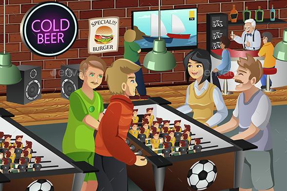 People Playing Foosball - People Characters