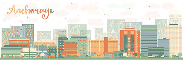 Abstract Anchorage Skyline with Color Buildings. - Buildings Objects