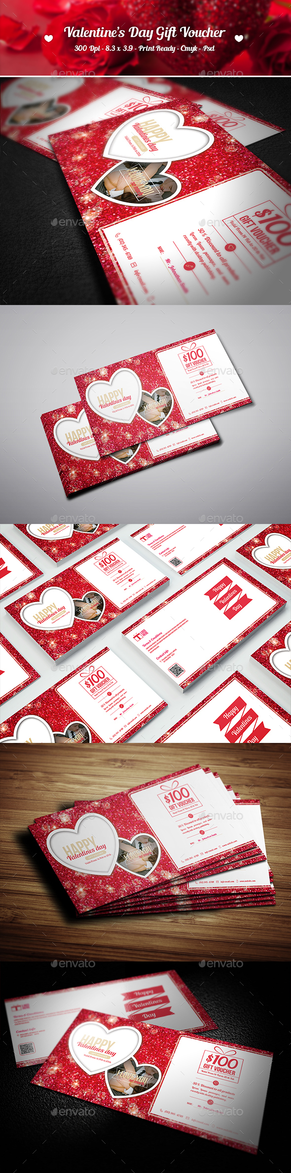 Creative Valentine's Day Gift Voucher  - Cards & Invites Print Templates