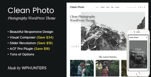 Clean Photo – Photography Portfolio WordPress Theme