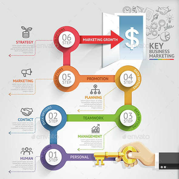 Key Business Marketing Timeline Infographics Template. - Infographics