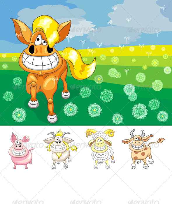 Vector Set Funny Cartoon Farm Animals - Animals Characters