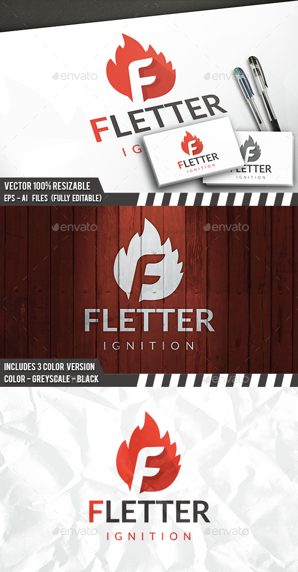 Fire F Letter Logo - Letters Logo Templates