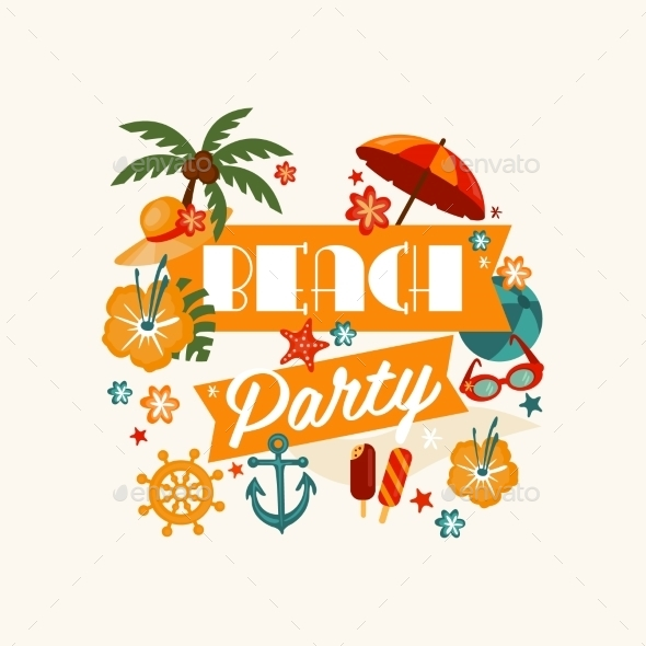 Brach Party Banner With Lettering - Flowers & Plants Nature