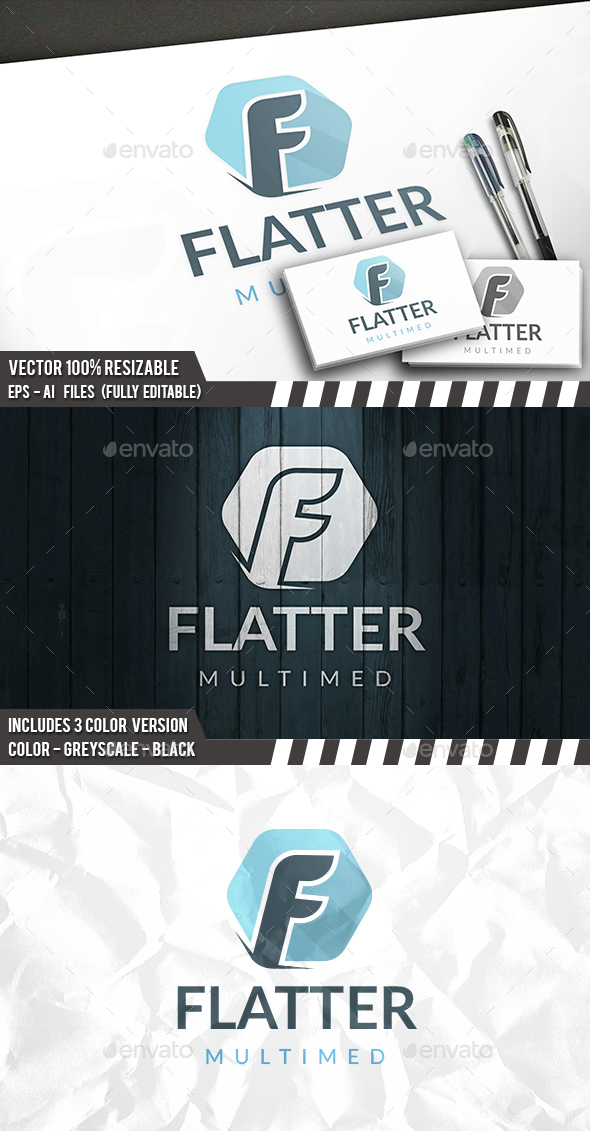 Flat F Letter Logo - Letters Logo Templates