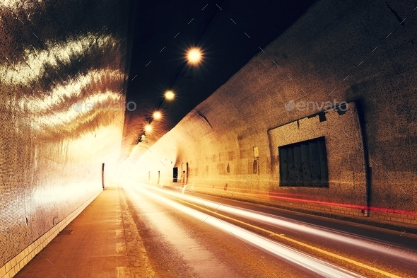 Traffic in urban tunnel - Stock Photo - Images
