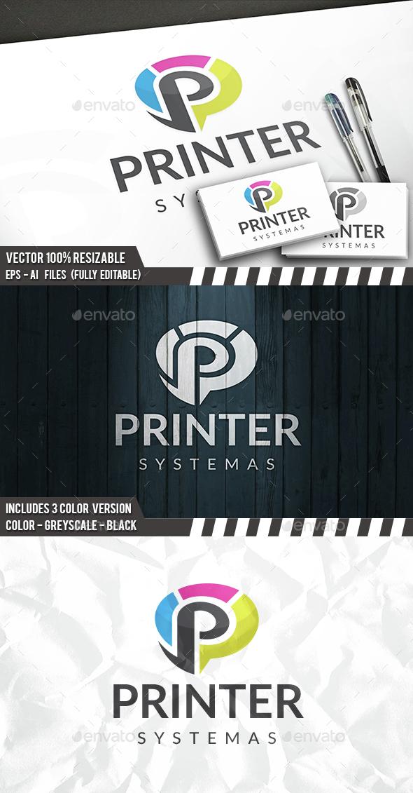 Print P Letter Logo - Letters Logo Templates