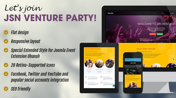 JSN Venture - Responsive Joomla Event Template - Events Entertainment