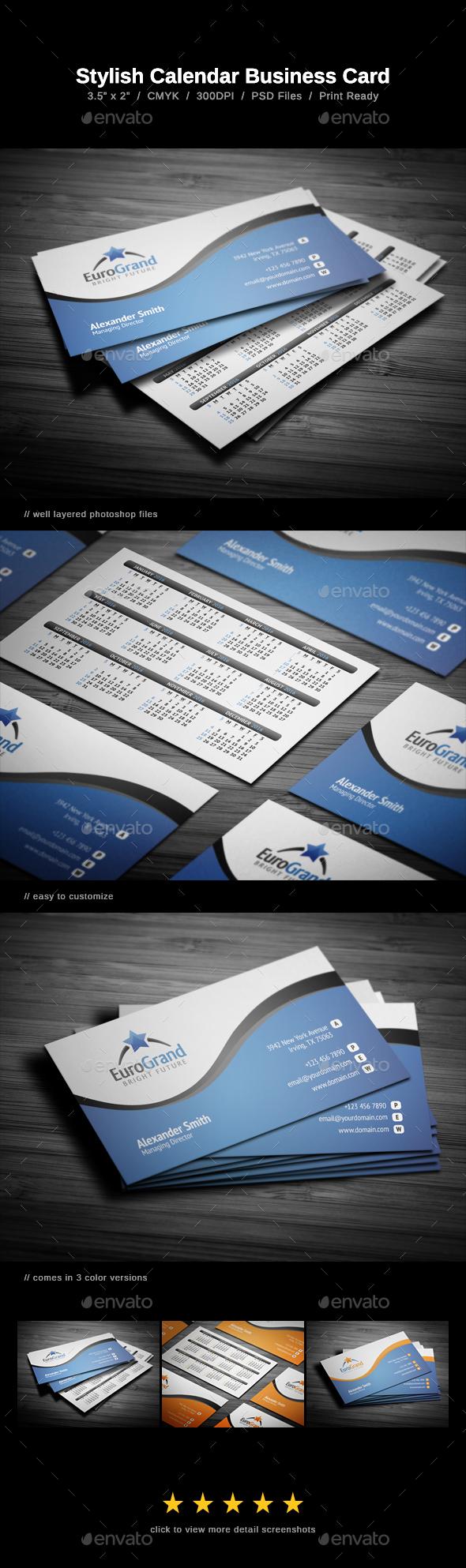 Stylish Calendar Business Card - Calendars Stationery