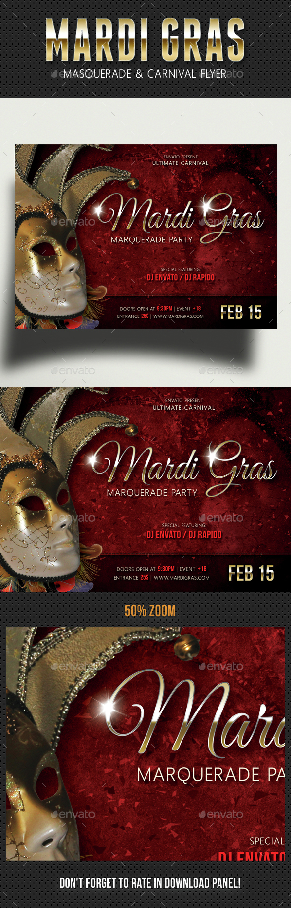 Mardi Gras Carnival Party Event Flyer - Events Flyers