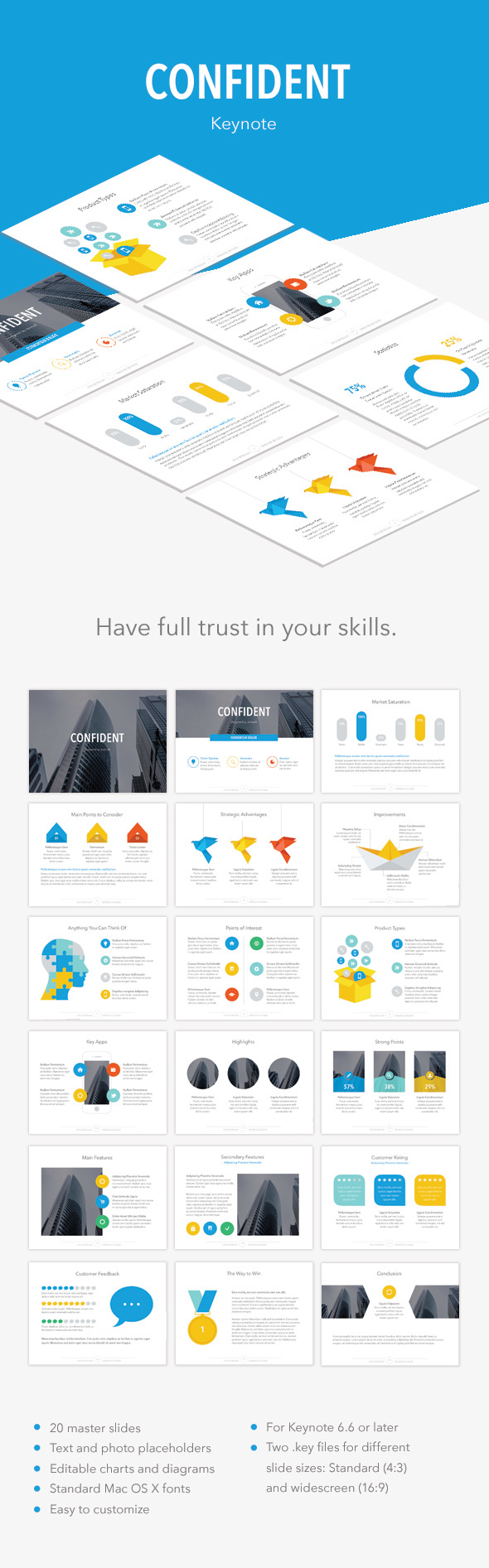 Confident Keynote Template - Abstract Keynote Templates